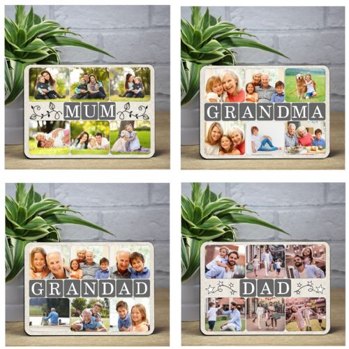 Personalised Wood Photo Panel Frame - Mum, Dad, Grandma or Grandad.